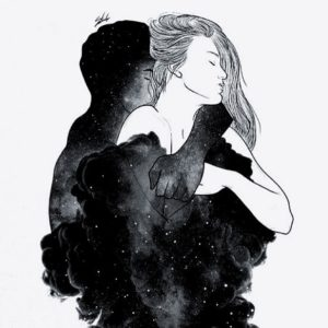 graphic of couple hugging