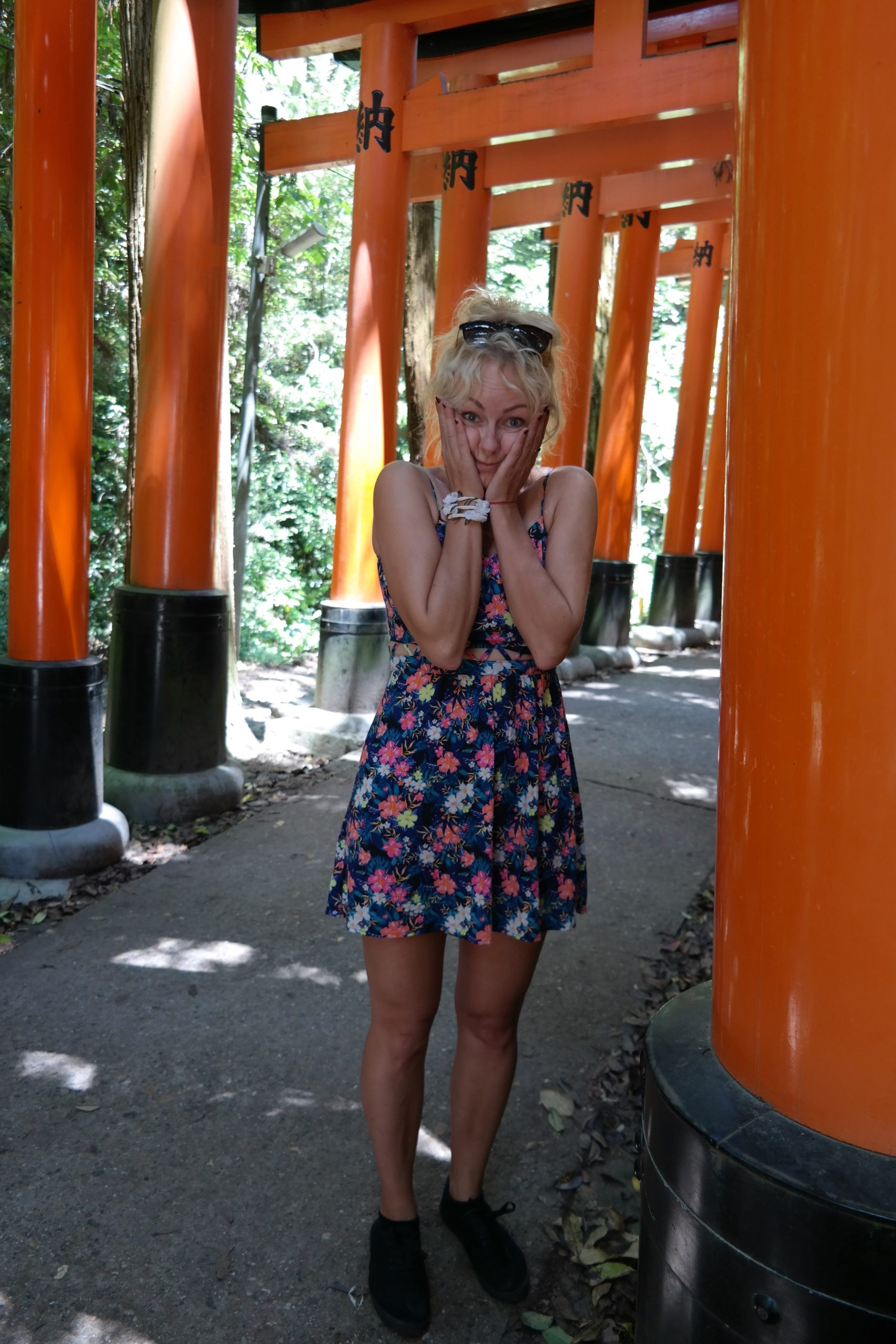 embarrassed girl in a temple