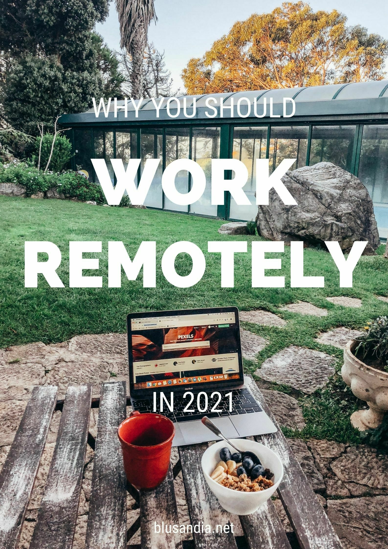 picture of remote work - working with laptop outside